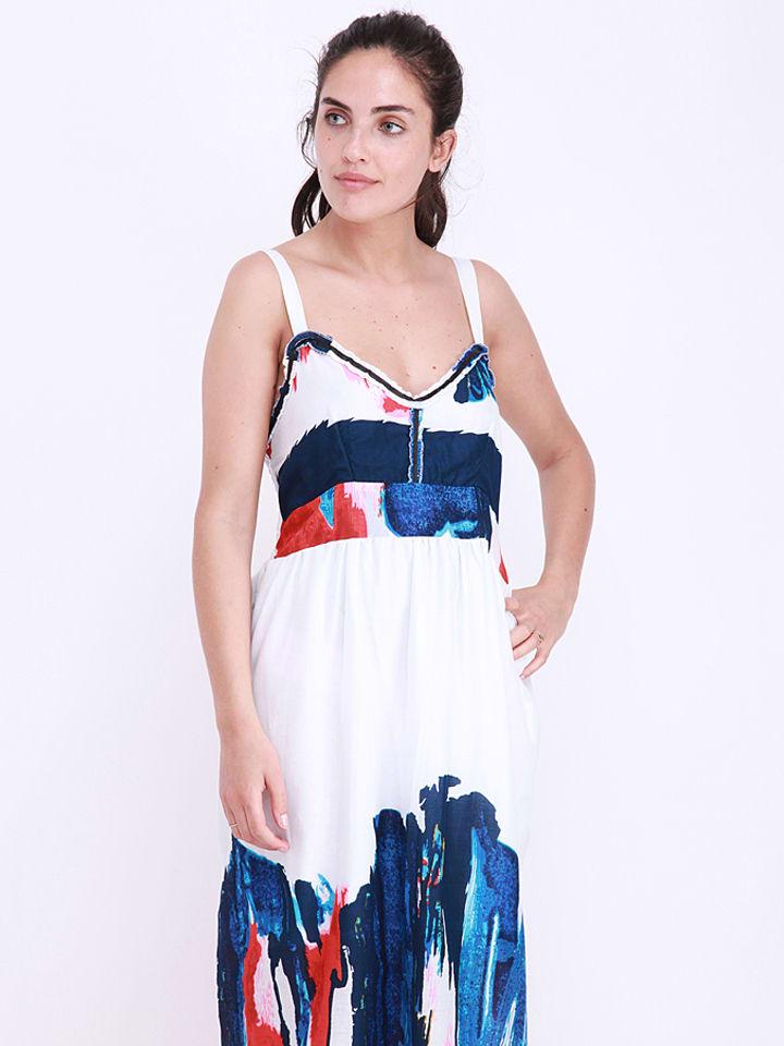Anmol Kleid in Weiß/ Blau