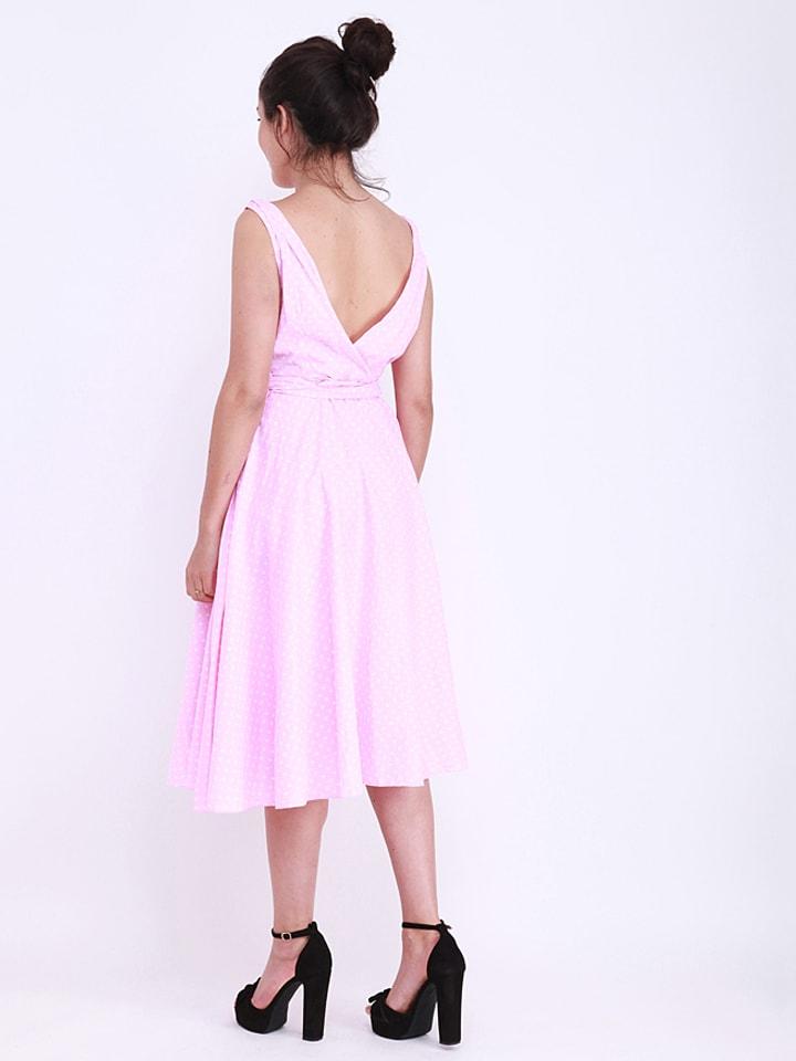 Kushi Kleid in Rosa/ Weiß