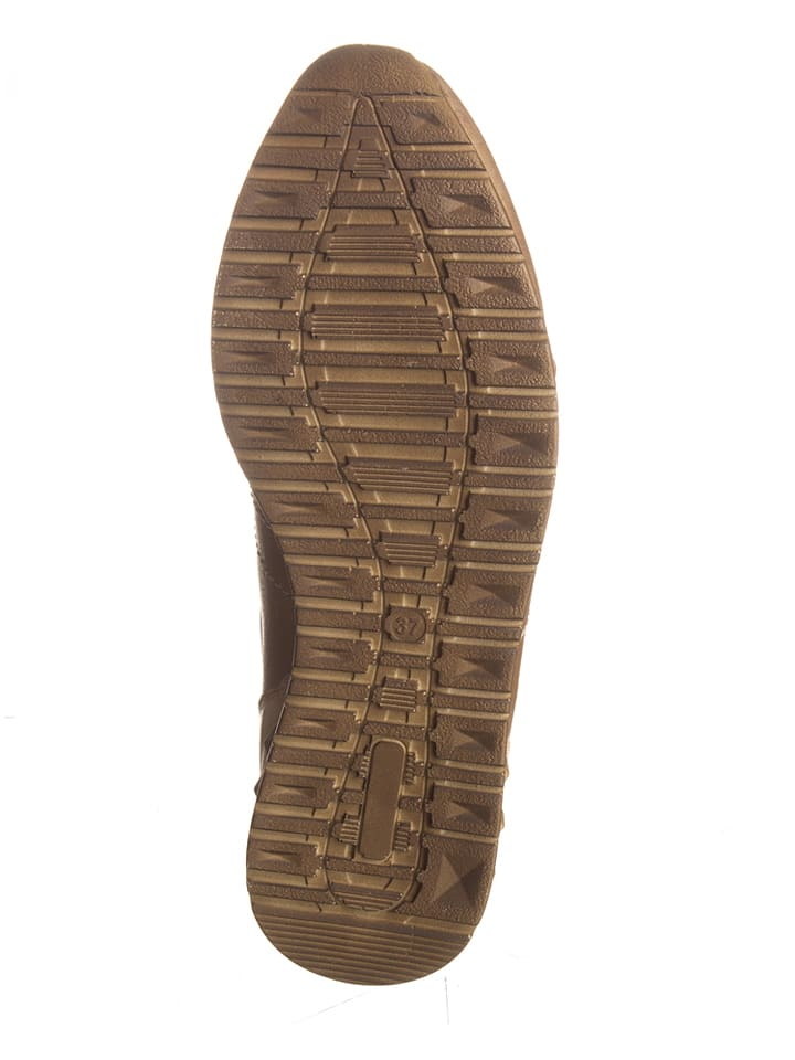Andrea Conti Leder-Sneakers in Beige