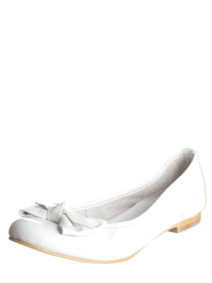 Andrea Conti Leder-Ballerinas in Weiß