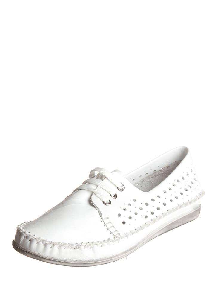 Andrea Conti Leder-Schnürschuhe in Weiß