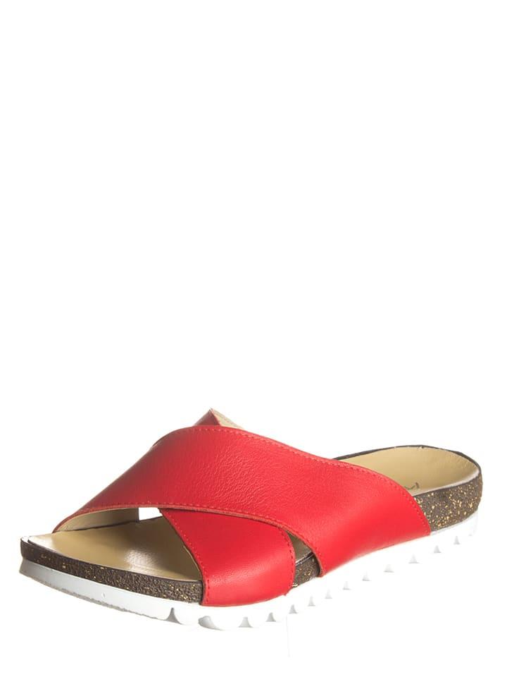 Andrea Conti Leder-Pantoletten in Rot
