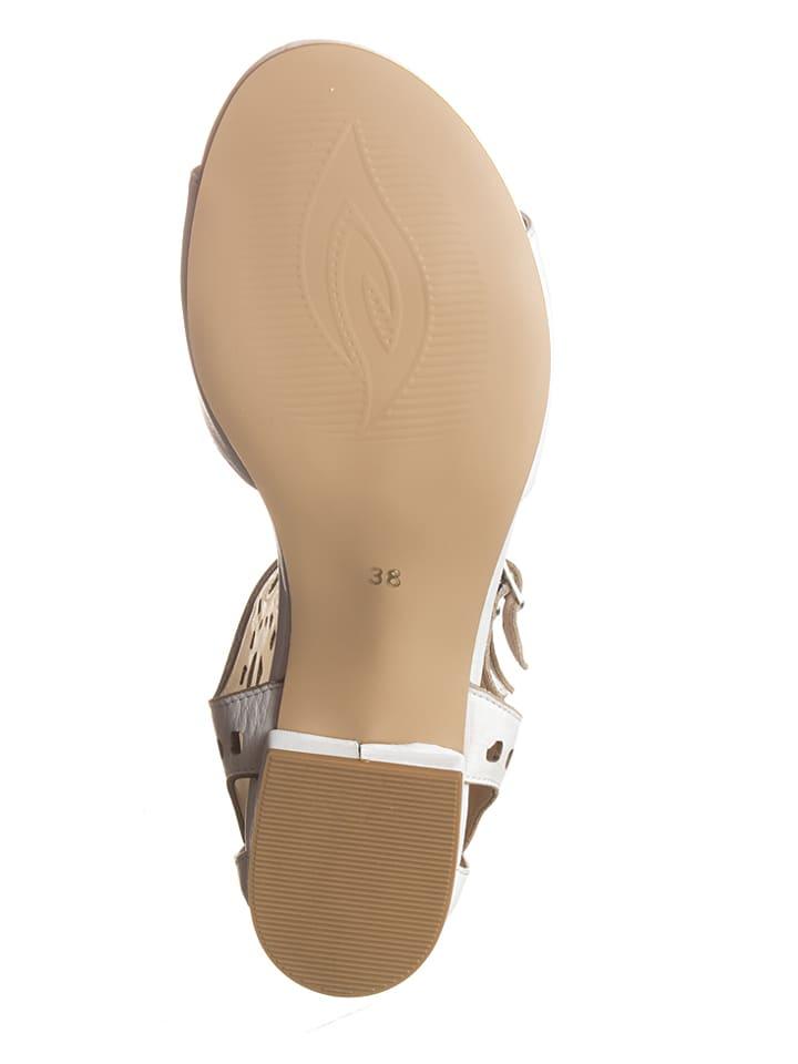 Andrea Conti Leder-Sandaletten in Weiß