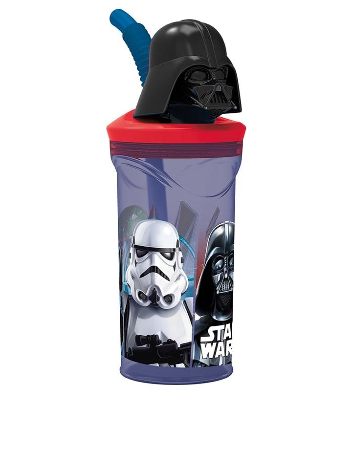 """JOY TOY Bidon """"Darth Vader"""" w kolorze czarno-czerwonym ze słomką do picia - 350 ml"""