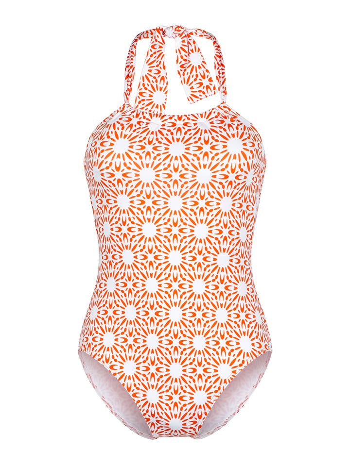 """Beach panties Badeanzug """"Elutherea"""" in Orange/ Weiß"""