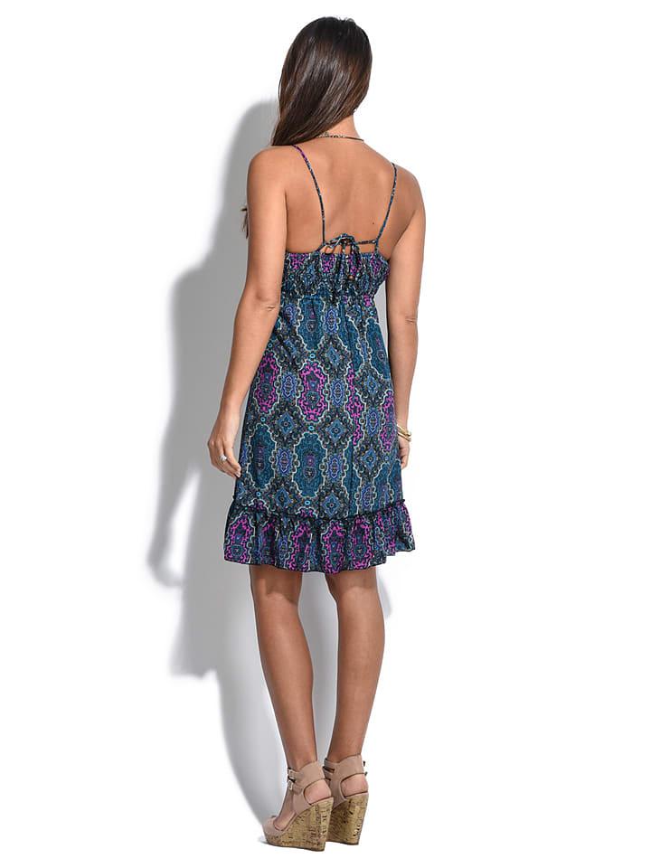 """COULEURS DU MONDE Kleid """"Maelys"""" in Blau/ Pink"""