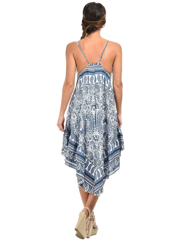 "COULEURS DU MONDE Kleid ""Maria"" in Blau/ Weiß"
