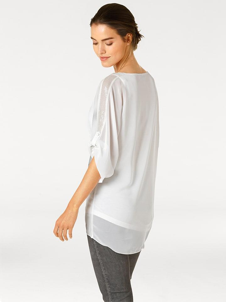 Linea TESINI by heine Shirt in Weiß/ Grau