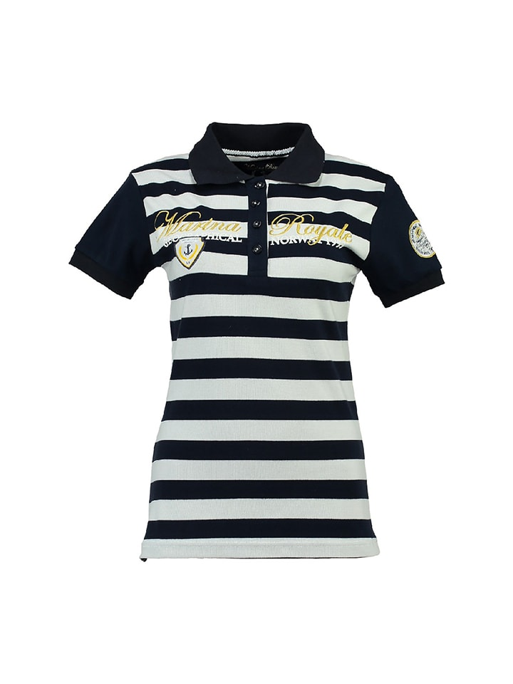 "Geographical Norway Poloshirt ""Kizabella"" in Dunkelblau/ Weiß"