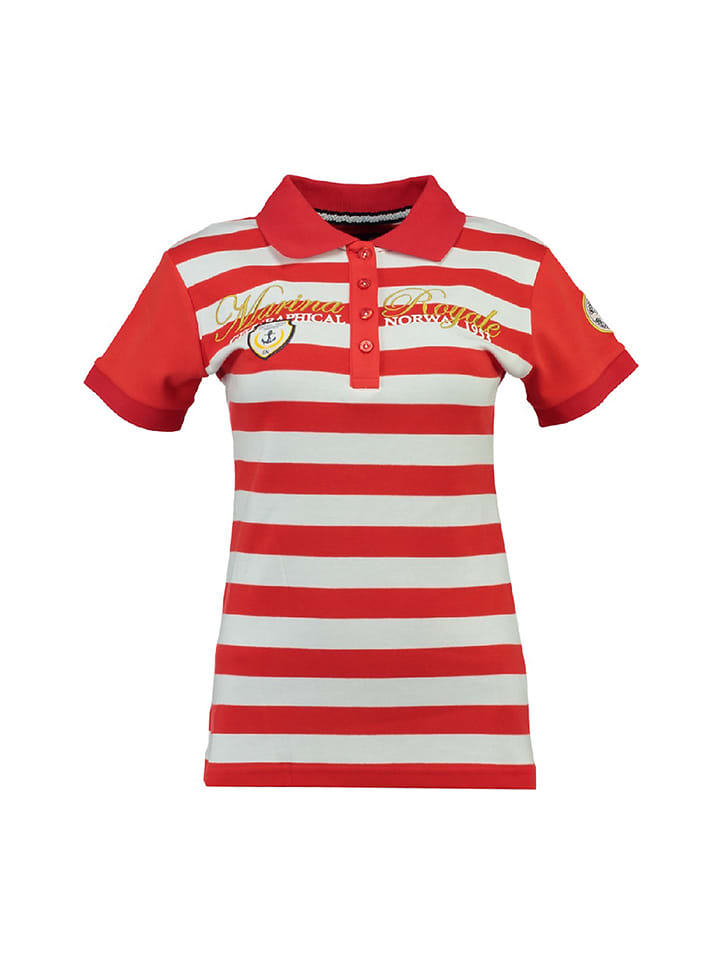 "Geographical Norway Poloshirt ""Kizabella"" in Rot/ Weiß"