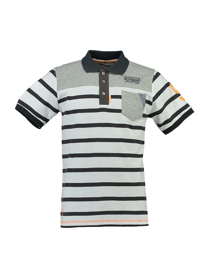 """Geographical Norway Poloshirt """"Kombril"""" in Weiß/ Anthrazit/ Hellgrau"""
