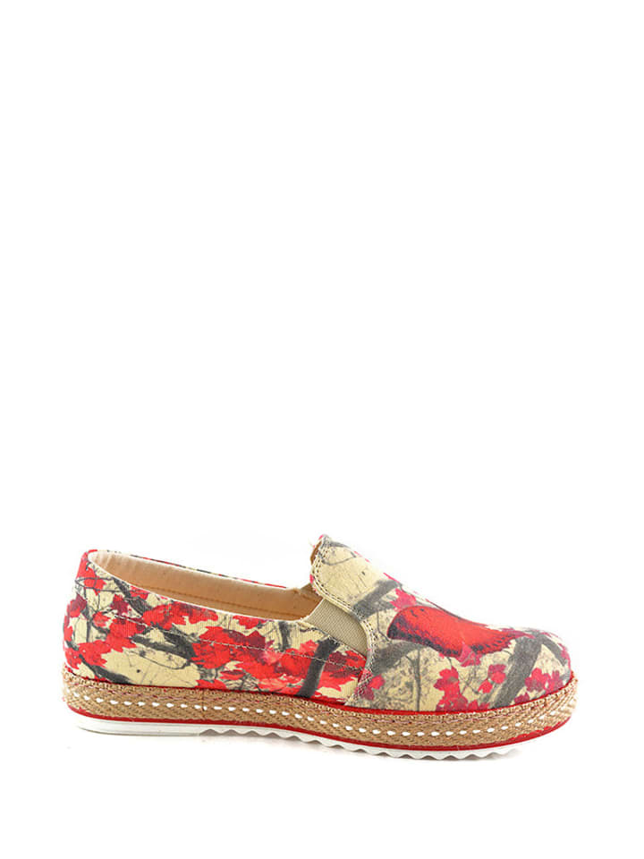 Goby Espadrilles in Beige/ Rot