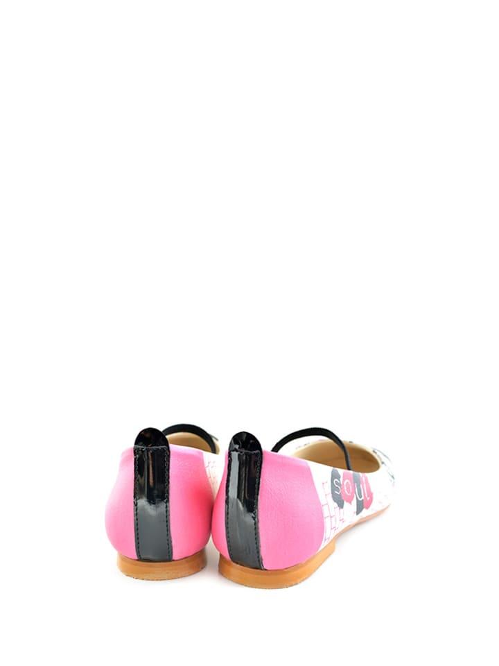 Raspberry Ballerinas in Weiß/ Schwarz/ Pink