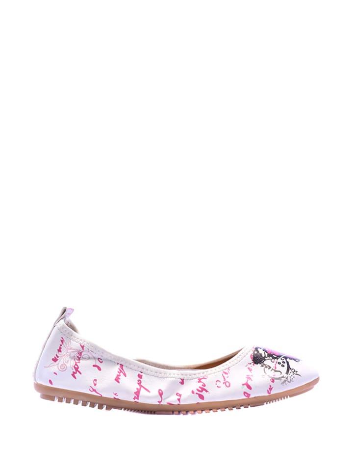 Goby 2tlg. Set: Ballerinas & Umhängetasche in Weiß/ Pink