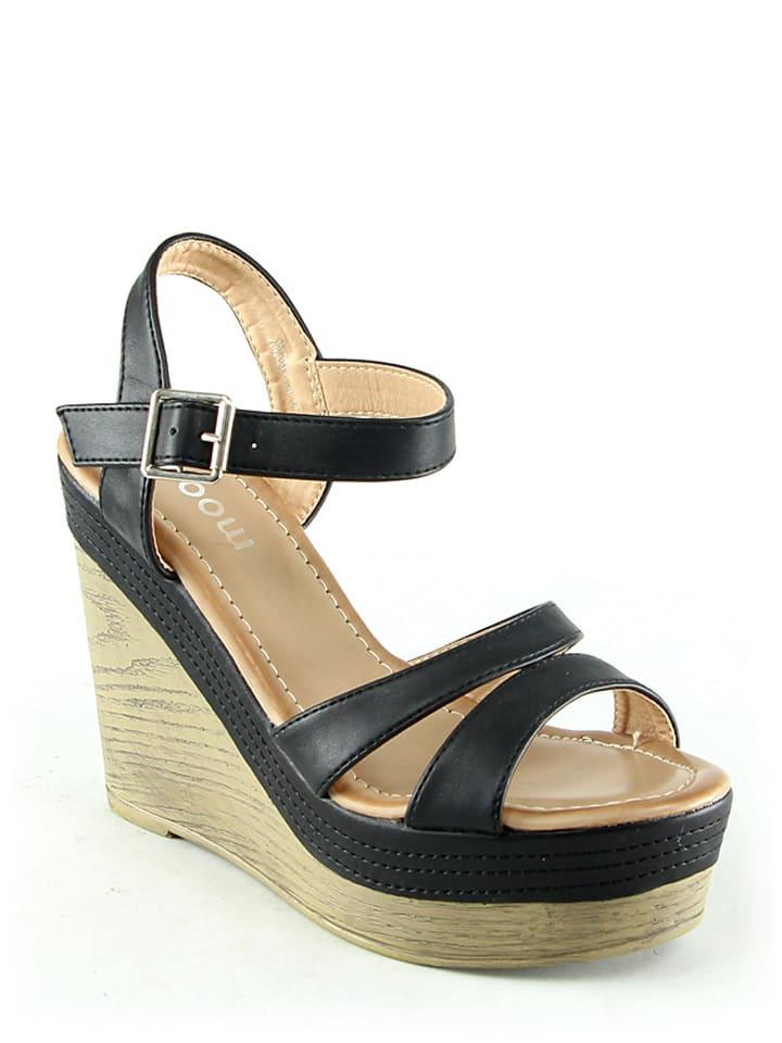 Moow Keil-Sandaletten in Schwarz
