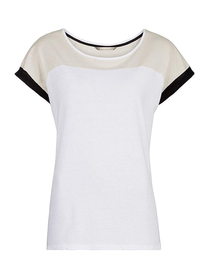 Sandwich Shirt in Weiß/ Beige/ Schwarz