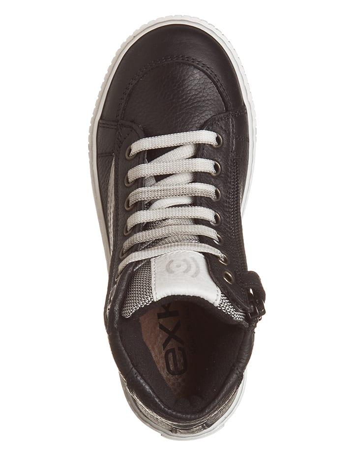 EXK Leder-Sneakers in Schwarz/ Weiß