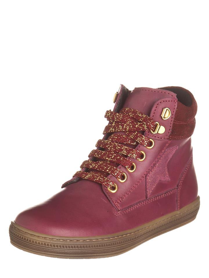 EXK Leder-Sneakers in Dunkelrot