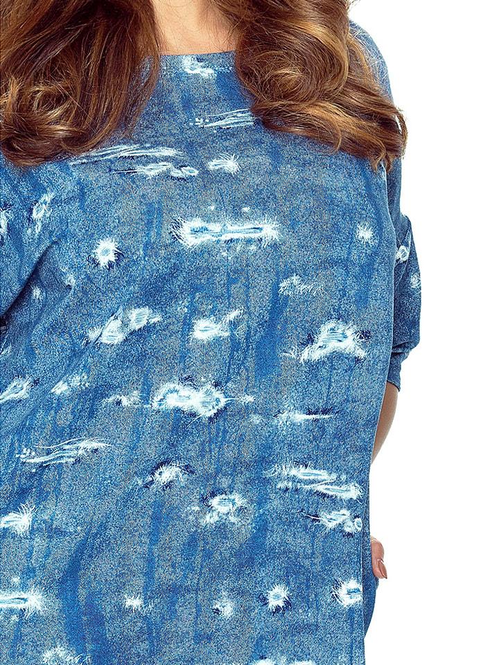 BERGAMO Kleid in Blau/ Weiß