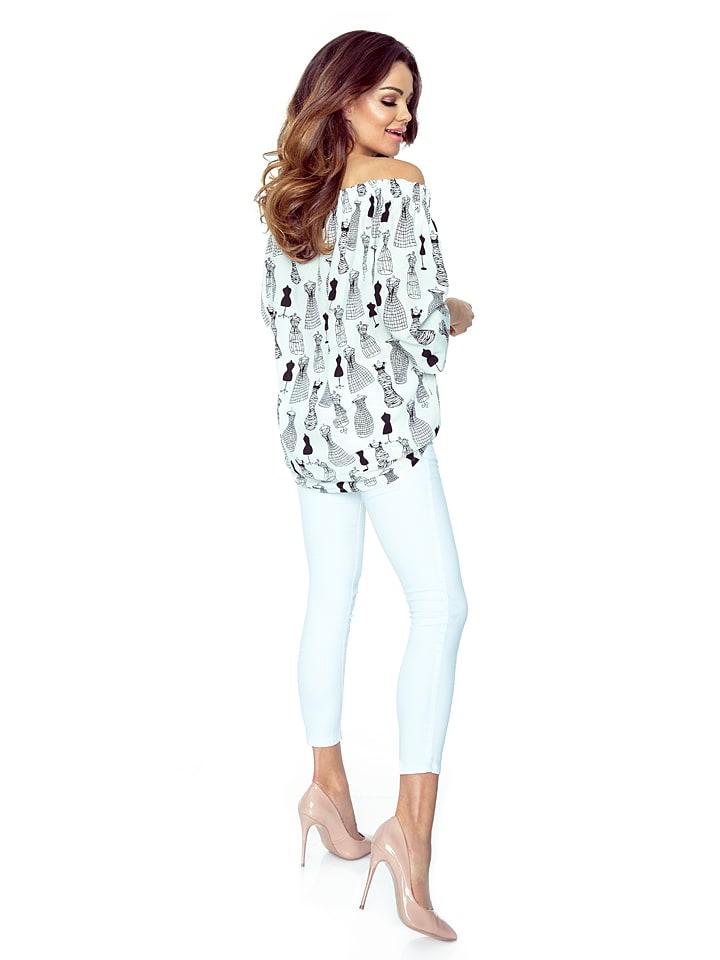 BERGAMO Shirt in Weiß/ Schwarz
