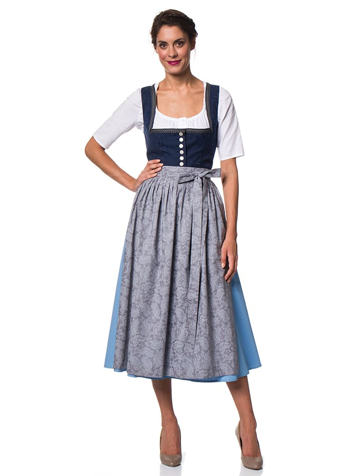 berwin und wolff maxi dirndl in dunkelblau hellblau. Black Bedroom Furniture Sets. Home Design Ideas