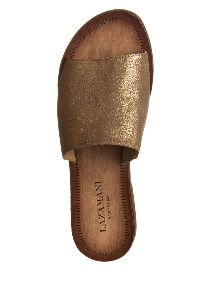 Lazamani Leder-Pantoletten in Bronze