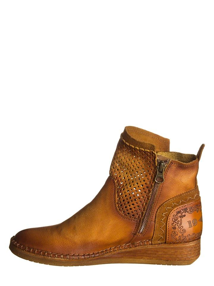 Lazamani Leder-Boots in Hellbraun