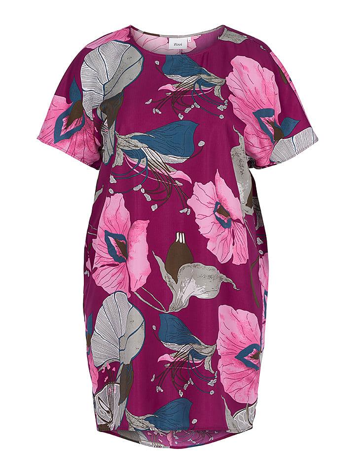 Zizzi Kleid in Fuchsia Rosa/ Grau