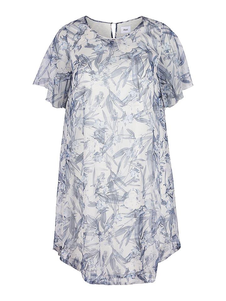 Zizzi Kleid in Creme/ Blau
