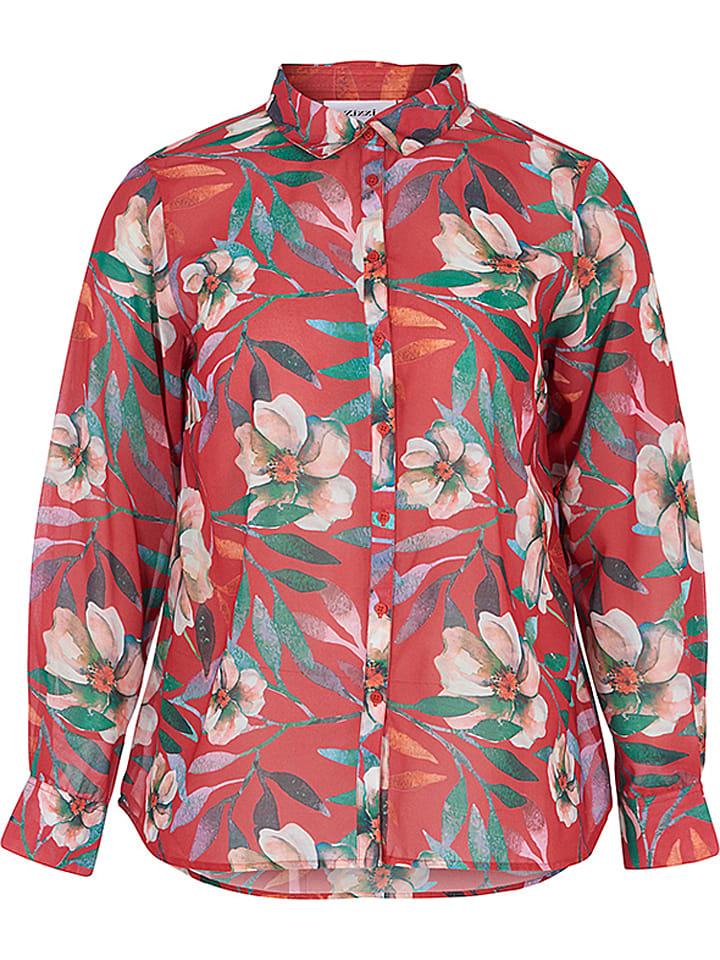 Zizzi Bluse in Rot/ Bunt