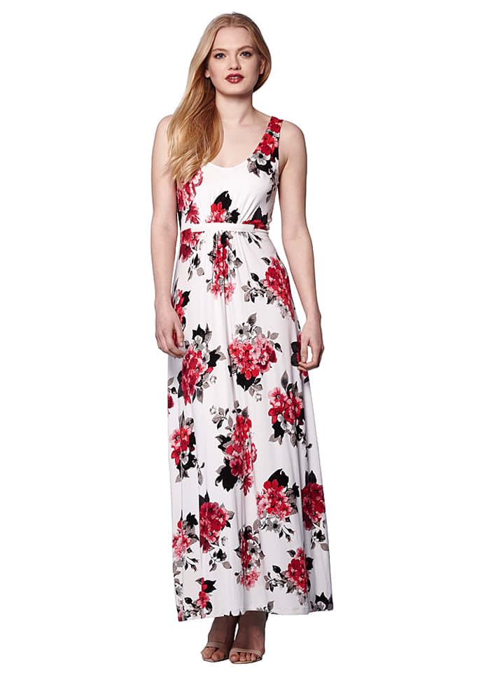Yumi Kleid in Creme/ Rot