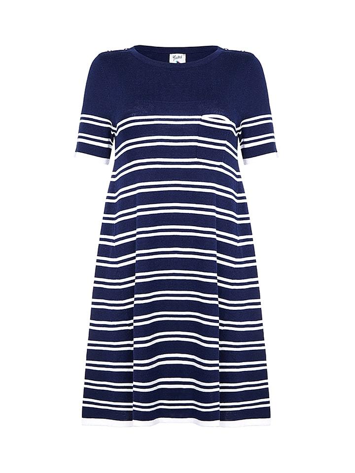 Yumi Kleid in Dunkelblau/ Weiß