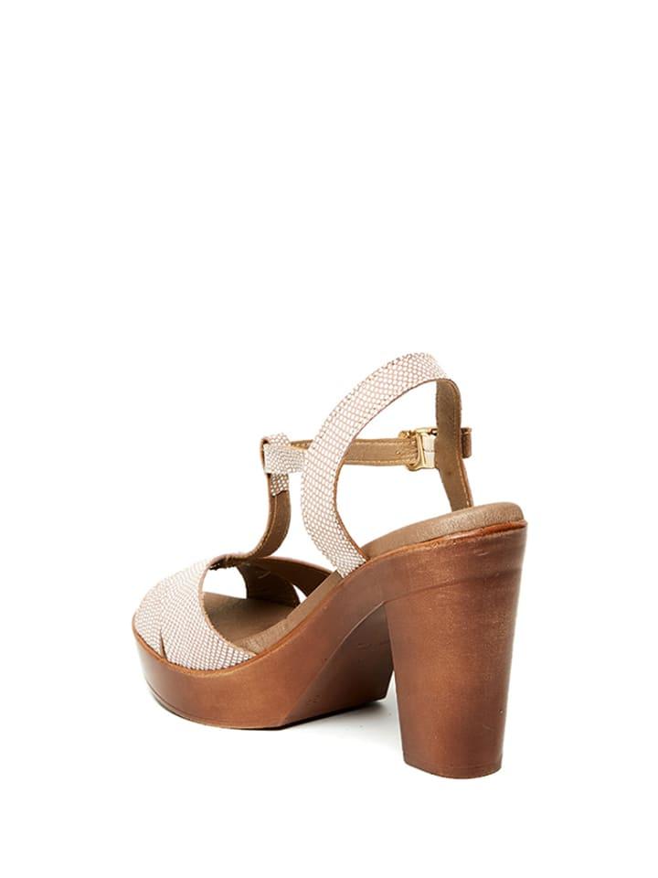 Uma Sandaletten in Braun/ Weiß