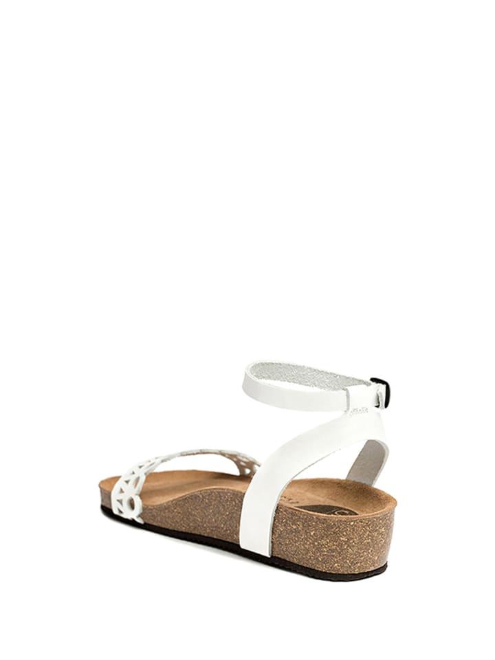 Uma Leder-Sandalen in Weiß