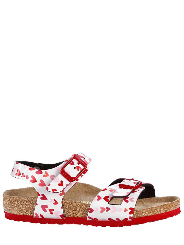 """Birkenstock Sandalen """"Rio"""" in Weiß/ Rot - Weite S"""