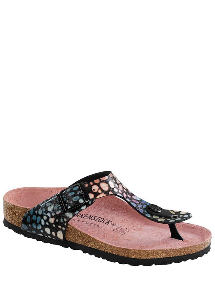 Birkenstock Slippers ''Gizeh'' zwart/blauw - wijdte S