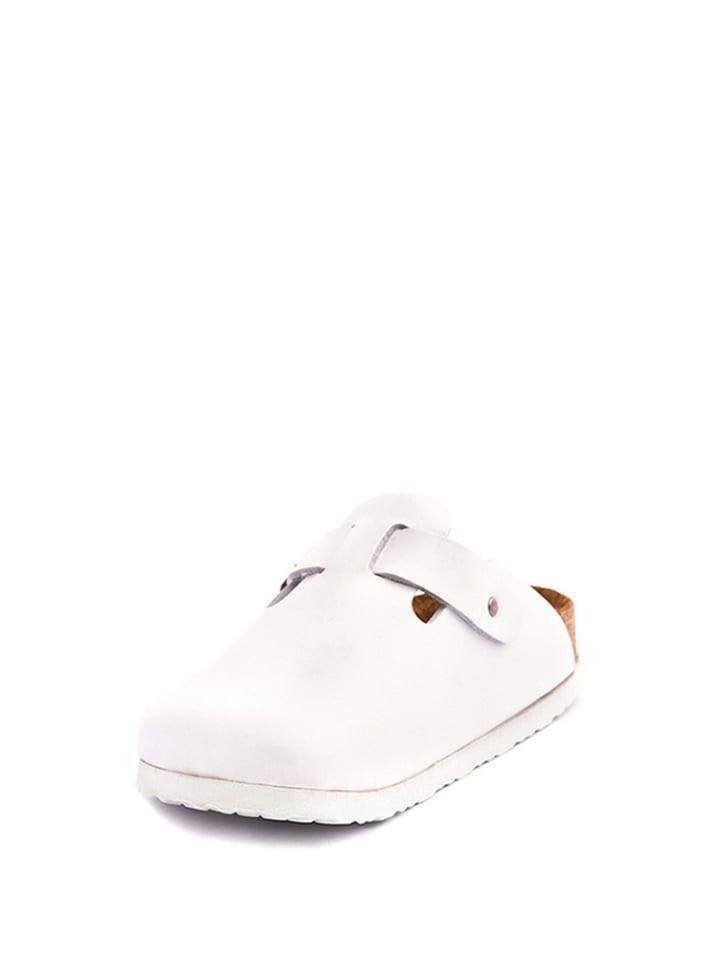 Comfortfusse Leder-Pantoletten in Weiß