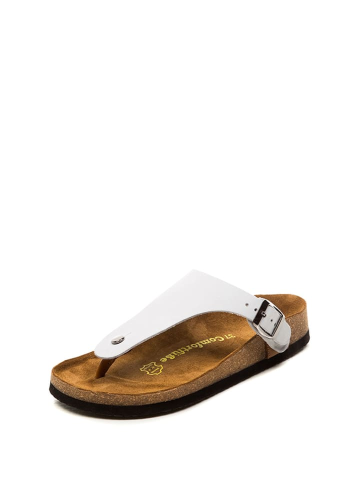 Comfortfusse Leder-Zehentrennerriemen in Weiß