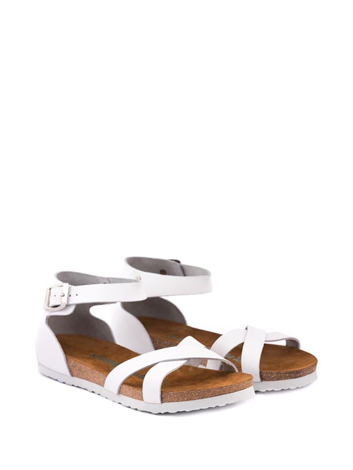 Comfortfusse Leder-Sandalen in Weiß