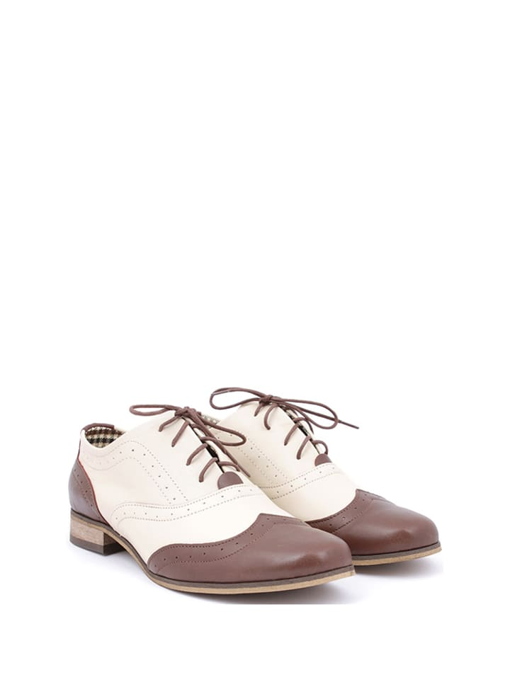 Zapato Leder-Schnürschuhe in Beige/ Braun