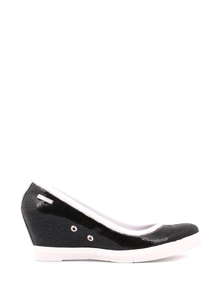 Zapato Leder-Keilpumps in Schwarz/ Weiß
