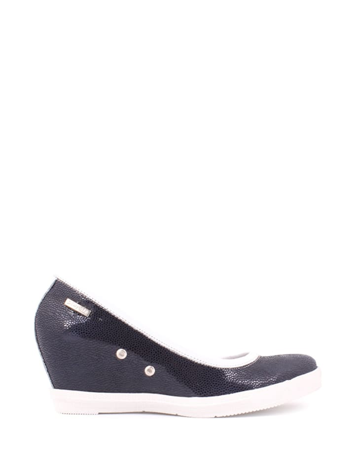Zapato Leder-Keilpumps in Dunkelblau/ Weiß