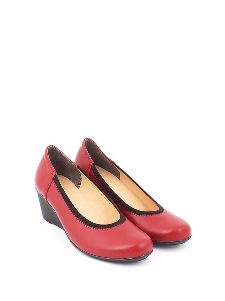 Zapato Leder-Keilpumps in Rot/ Schwarz