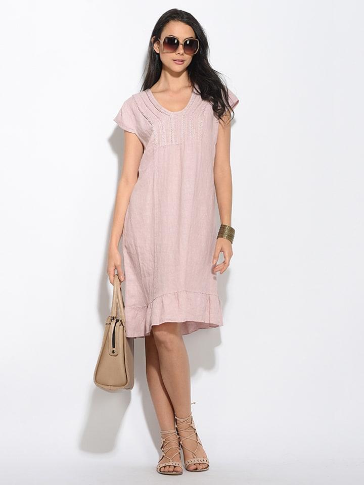 So Nature Leinen-Kleid in Rosa