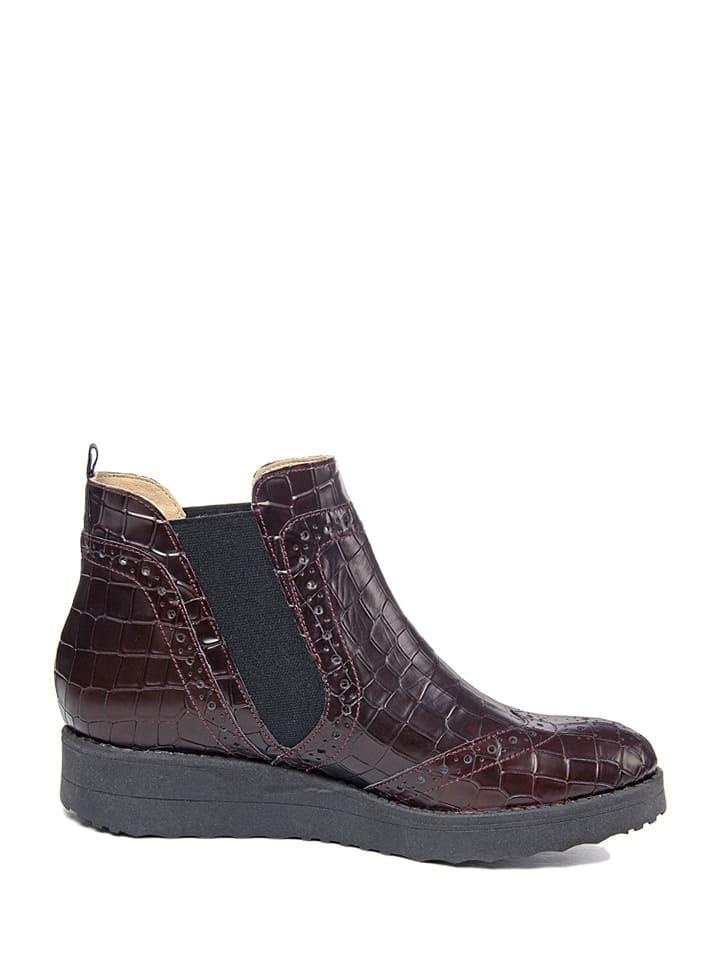EYE Leder-Chelsea-Boots in Bordeaux
