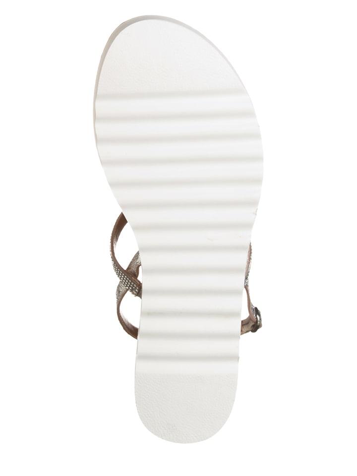 Otto Kern Leder-Sandalen in Silber