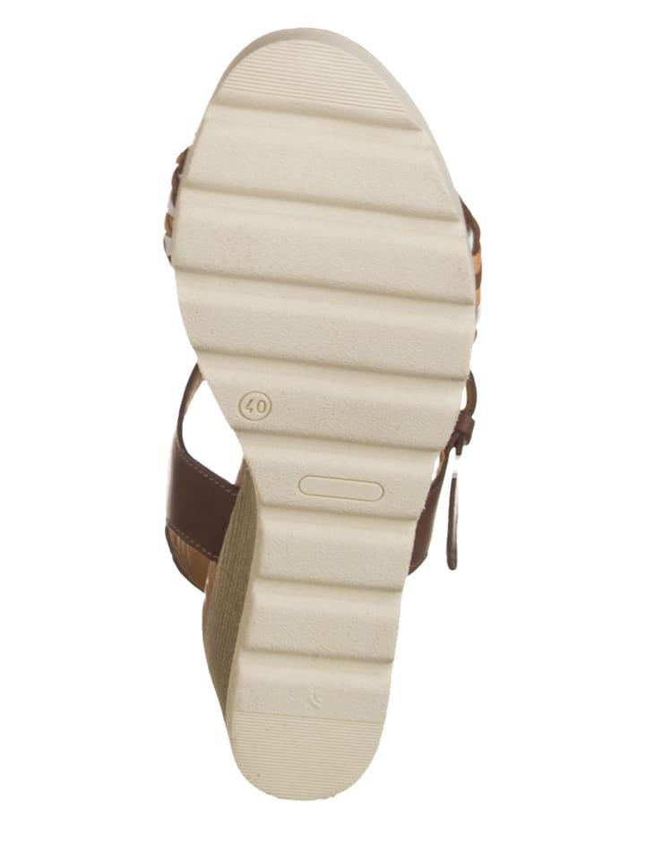 Otto Kern Leder-Sandaletten in Braun/ Weiß