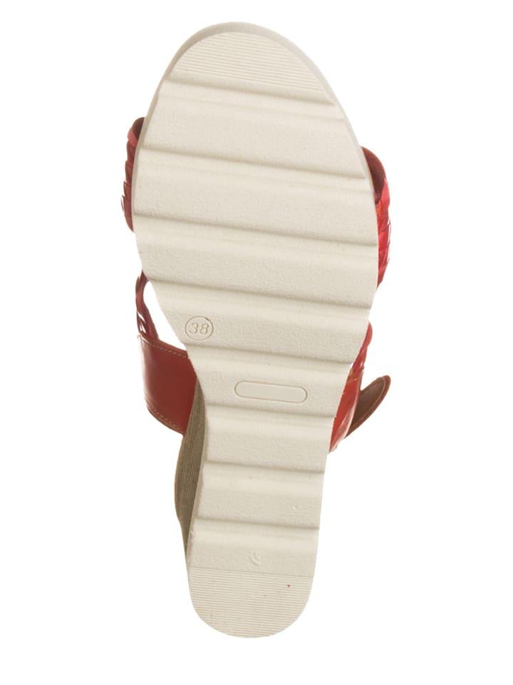 Otto Kern Leder-Sandaletten in Rot