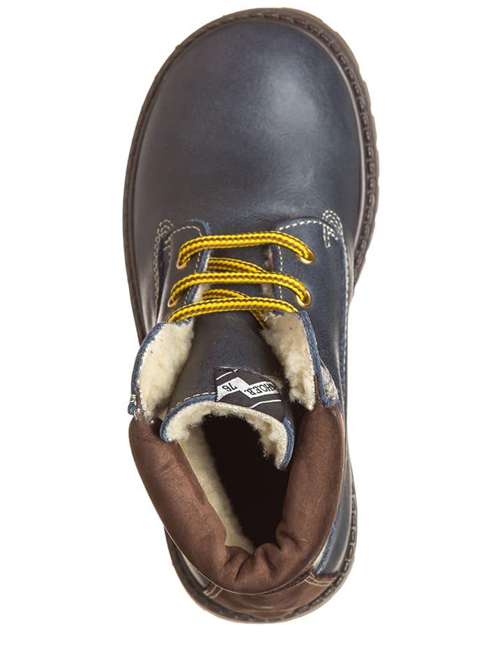 EB Shoes Leder-Boots in Blau/ Braun