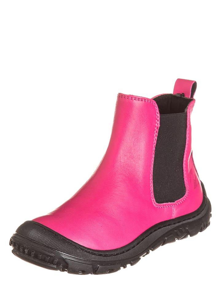EB Shoes Skórzane botki w kolorze różowo-czarnym